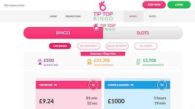 tip top bingo screenshot