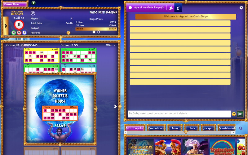 age of gods bingo screenshot