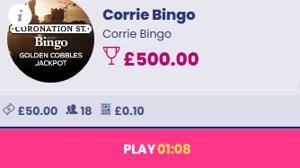 corrie bingo jackpot screenshot