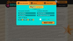 barbados bingo sign up webpage screenshot