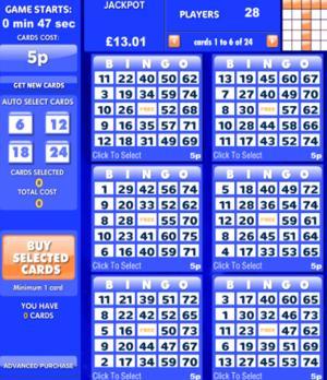 bingo cards screenshot