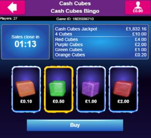 cash cubes bingo game screenshot