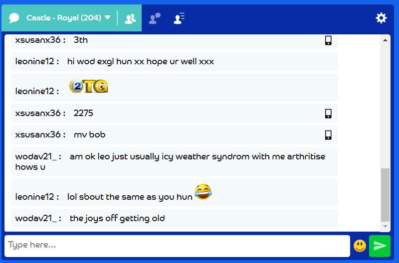 bingo chat room snippet
